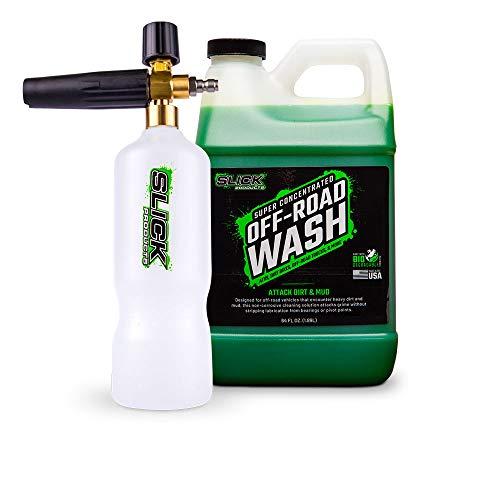 Slick Products Off-Road Wash (64 oz.) + Pressure Washer Foam Cannon Bundle - Super Concentrated Bike, ATV, UTV, Truck Wash Foam Shampoo for Heavy Dirt and Mud