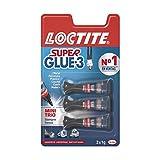 Loctite Super Glue-3 Original Mini Trio, pegamento universal con triple resistencia, adhesivo transparente, pegamento instantneo y fuerza instantnea, 3x1 g
