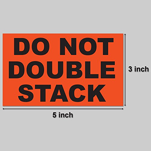 "DO NOT Double Stack Warning Labels Self Adhesive Stickers (Orange Black / 5"" x 3"") - 300 Labels per Package Photo #2"
