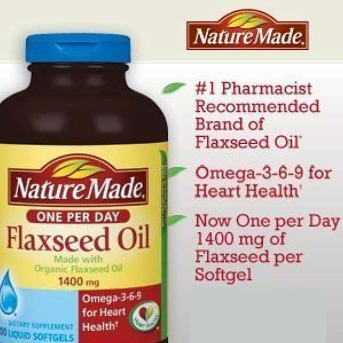 バージンユダヤ人光景Nature Made Organic Flaxseed Oil, Omega-3-6-9 for Heart Health, 1400 mg, Liquid Softgels - 300 Count by USA [並行輸入品]