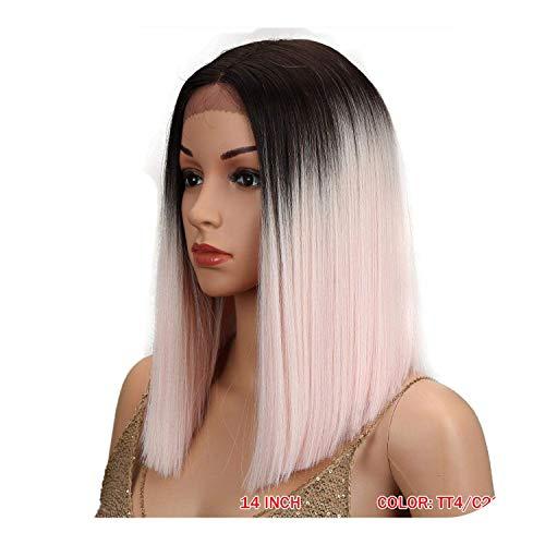 PJPPJH Perruques pour Femmes Cheveux Humains Vague Profonde Perruque Frontale, 10 Pouces Avant de Dentelle Droite Bob Cheveux Cosplay Cheveux synthétiques résistants à la Chaleur