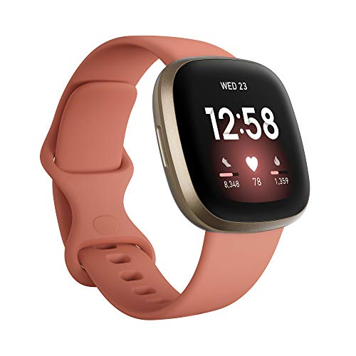 Fitbit Versa 3 Health & Fitness Smartwatch with GPS, 24/7 Heart Rate, Voice Assistant & up to 6+ Days Battery, Pink/Clay