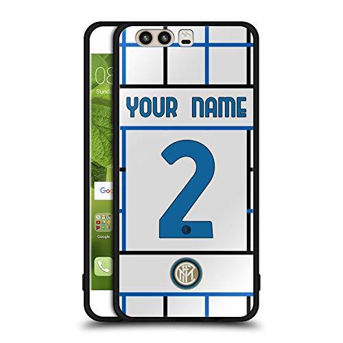 Head Case Designs Personalizzata Personale Inter Milan Away 2020/21 Kit Crest Cover Nera Ibrida in Vetro per Parte Posteriore Compatibile con Huawei P10
