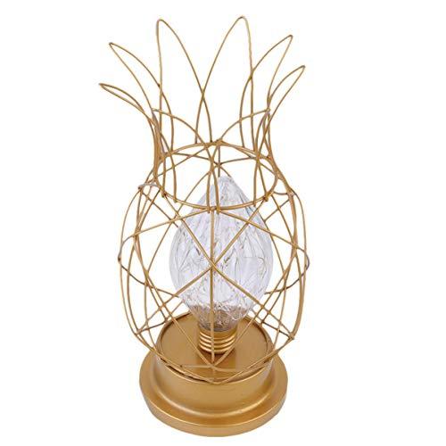 Uonlytech Lampe de Table à Cage Décorative en Forme D'ananas Bureau LED Lampe de Nuit à Ampoule à Cage en Métal pour Centre Commercial Home Store Décoration de Dortoir (Lumière Chaude Dorée)