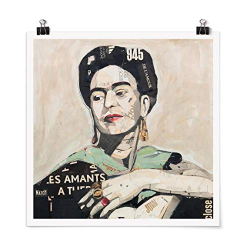 Bilderwelten Poster Cuadro Frida Kahlo - Collage No.4 Cuadrado, Mate 30 x 30cm