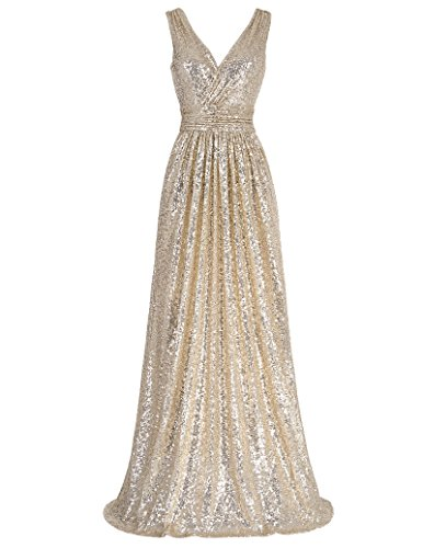 Kate Kasin Damen Abendkleid Einfarbig, Kk199-1(golden), Gr.- 38 EU