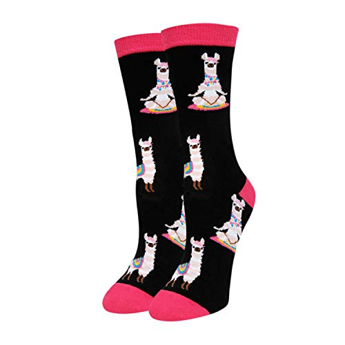 SOCKFUN Funny Novelty Cute Llama Socks for Women and Girls Llama in Yoga Alpaca Crew Socks Gifts for Animal Lovers Gift