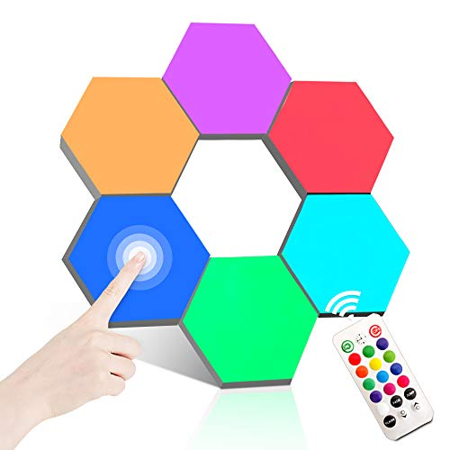 Remote Control Hexagon Wall Light Smart Wall-Mounted Touch-Sensitive DIY Geometric Modular Assembled RGB Led Colorful Light Used in Bedroom Bathroom Living Room Children's Day Christmas Decoration