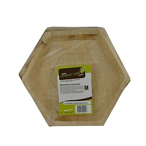 Fêter et recevoir 6 Assiettes Palmier HEXAGONALE Bio 24 CM