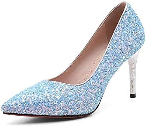 ZHZNVX Chaussures Femme PU (Polyuréthane) Printemps & Eté Confort Talons Talon Aiguille Blanc Noir Bleu Royal