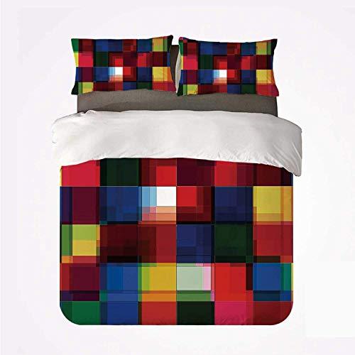 Juego de funda nórdica Juego de cama abstracto suave de 3 piezas, patrón de mosaico de colores de medios tonos Cuadrados Efecto similar al digital Impresión de cuadrícula de azulejos para dormitorio