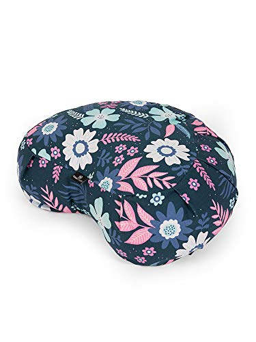 Cojín orgánico de trigo sarraceno para estudio de yoga – 420 mm x 310 mm x 180 mm, cojín de diseño de media luna con relleno de cascos de trigo sarraceno, Blue Flowers