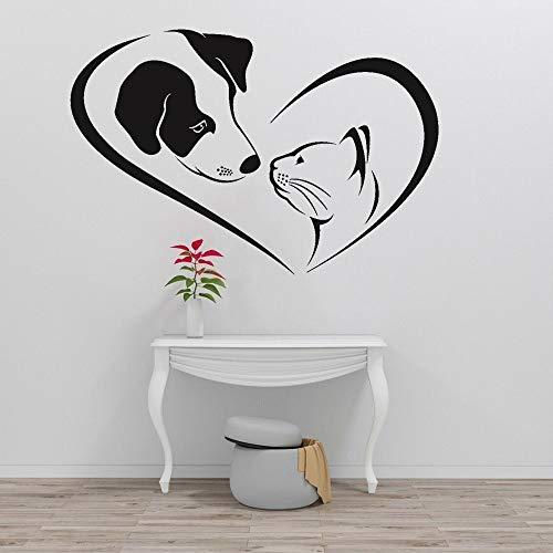 Calcomanía de pared para el aseo de mascotas lindo perro gato veterinario jardín de infantes vinilo adhesivo creativo autoadhesivo A9 62x42cm