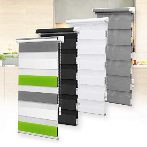 OBdeco Doppelrollo Duo Rollo Klemmfix ohne Bohren B110cm x H150cm(Stoffbreite 106 cm) Weiss+grün+grau für Fenster lichtdurchlässig und verdunkelnd