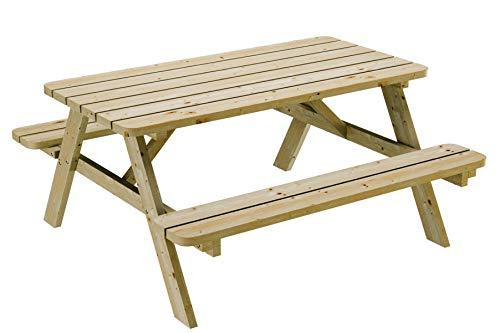 PLATAN ROOM Picknick Sitzgruppe aus Holz Tisch Bank Kiefernholz massiv 35 mm Bierbank stabil und robust (150 cm)