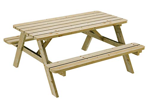 PLATAN ROOM Picknick Sitzgruppe aus Holz Tisch Bank Kiefernholz massiv 35 mm Bierbank stabil und robust (120 cm)