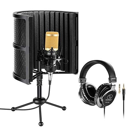 Neewer Escudo Aislamiento Micrófono Mesa con Espuma Absorbente, Micrófono de Condensador, Soporte de Choque, Soporte de Trípode y Auriculares Monitor Estudio para Podcasts Grabación Sonido