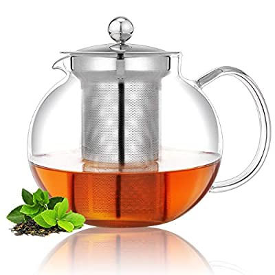 Glass Teapot Stovetop & Microwave Safe with Removable Stainless Steel Infuser (33OZ/ 1000ML) Perfect For Loose Leaf Tea, Blooming Tea, Tea Bags, Herb Tea Great Gift for Festival, Birthday Hold 3-4 Cup