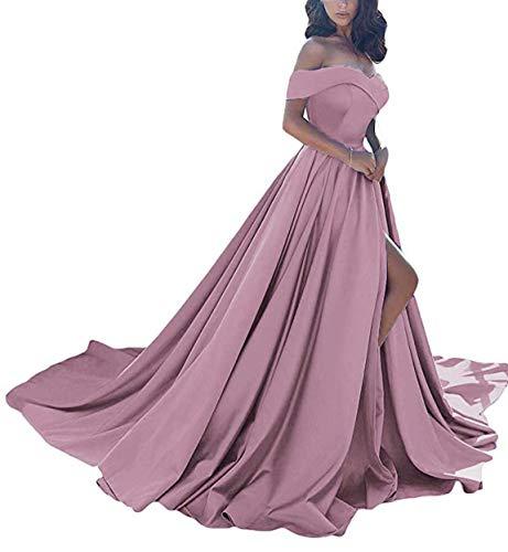 A Line Off the Shoulder Wedding Dress in Blush