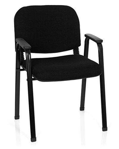hjh OFFICE 704340 Besucherstuhl XT 650 Stoff Schwarz Konferenzstuhl gepolstert mit Armlehne, stapelbar