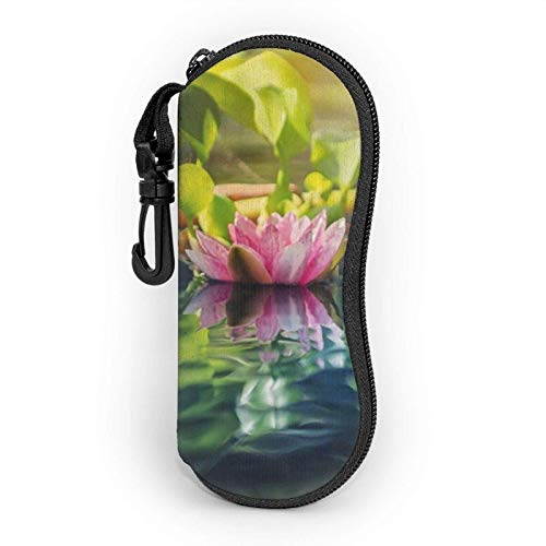 lymknumb Funda de gafas, Water Lotus Soft Portable Light Eyeglasses Bag, Neoprene Shockproof Sunglasses Cases with Belt Clip