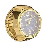 Scicalife Vintage Ring Watch, Quartz Watch Ring-shaped Round Fashion Roman Numerals Finger Watch (Golden Black)