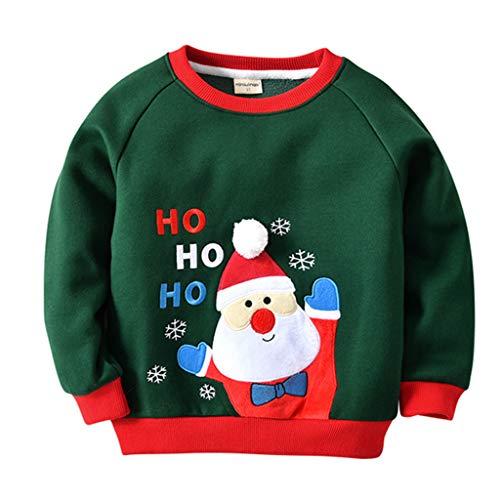 Felpe Sportive del Natale Bambino Maglione a Manica Lunga Babbo Natale Cotone Pullover, Blu Reale 12-18 Mesi