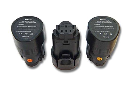 vhbw 3x Li-Ion Akku 2000mAh (12V) für Werkzeuge AEG BLL12C, BS12C, BS12C2, BSS12C, BWS12, BWS12CBWS wie 3520, 3526, 4932, 584932, 954932, L1215.