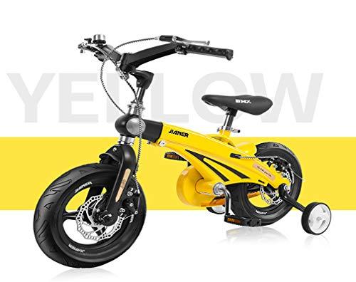 14 Pulgadas Bicicletas Infantiles Con Estabilizadores Pedales Ruedas De Entrenamiento Asa Plegable Marco De AleacióN De Magnesio Campana Freno Para NiñOs 3-7 AñOs NiñO NiñA Bicicleta Deportiva, Yellow