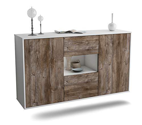 Dekati Sideboard Tallahassee hängend (136x77x35cm) Korpus Weiss matt   Front Holz-Design Treibholz   Push-to-Open   Leichtlaufschienen