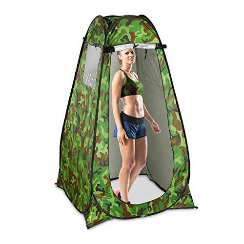 Relaxdays Duschzelt, Pop Up Stehzelt für Camping, Garten & Outdoor, Umkleide-& WC-Zelt, 200 x 120 x 120 cm, Camouflage