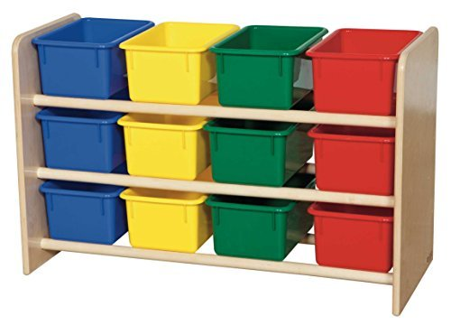 "Wood Designs WD13803 See-All Storage with (12) Assorted Color Trays, 21 x 33 x 14"" (H x W x D)"