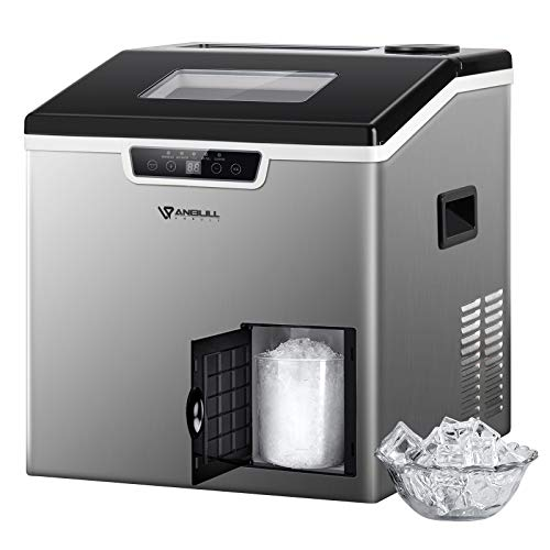 Anbull 2 in 1 Ice Maker & Shaver Machine, 44lbs/24H Compact Cube Ice Maker Countertop with Ice Crusher, Portable Stainless Steel with Ice Scoop & Basket, Ideal for Home/Kitchen/Office/Restaurant/Bar