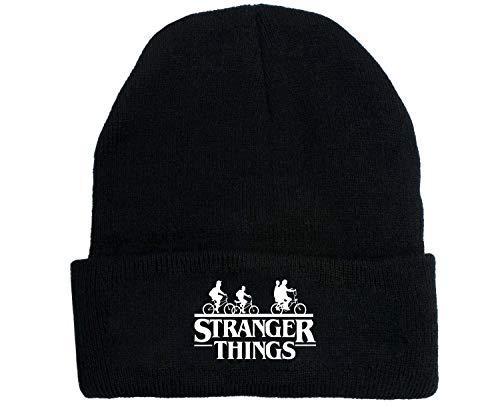 Fira Woo Gorro Beanie de Stranger Things, Gorro con Logo Bordado de Punto Gorro elástico Gorro de Invierno