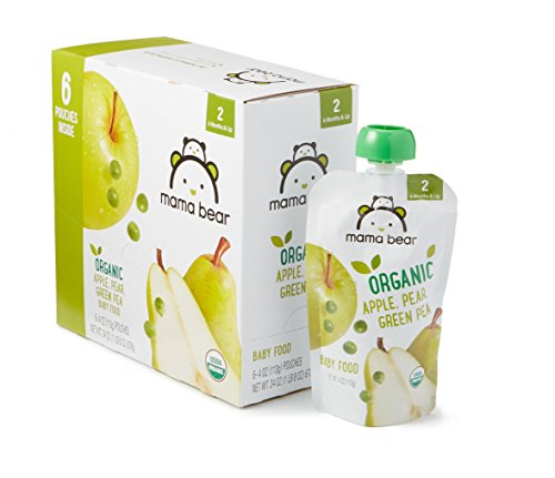 Amazon Brand - Mama Bear Organic Baby Food, Stage 2, Apple Pear Green Pea, 4 Ounce Pouch (Pack of 12)