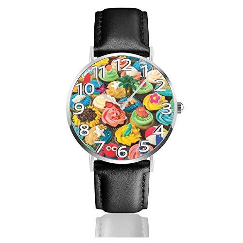 腕時計 レザーウオッチ カラフルなカステラ ファッション カジュアル ビジネス ユニセックス 軽量 防水 クオーツ男性用 時計 中学生 高校生