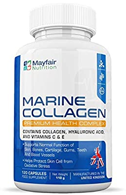 Marine Collagen Complex 700mg - 120 Premium Quality 700mg Capsules to Help Promote Healthy Skin Cells and the Normal Function of Blood Vessels - Contains Collagen, Hyaluronic Acid, and Vitamins C & E - Guaranteed by Calibre Nutrition by Calibre Nutrition