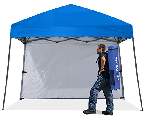 ABCCNAOPY Outdoor Pop Up Canopy10x10 Beach Camping Canopy with 1 Sun Wall, Bonus Backpack Bag, Stakes and Ropes, Royal Blue