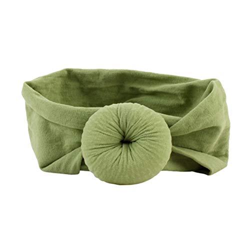 Lurrose bébé Nœud Bandeaux infantile Turban Bandeau pour nouveau-né élastique Head Wrap Bean Sable Vert