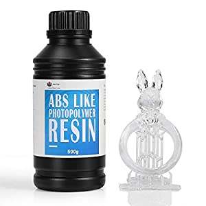 WEISTEK ABS-Like 3D Printer Resin UV Curing 405nm Non-Brittle Photopolymer Resin With High Presicion Fast Cure for LCD DLP 3D Printing, 500g Translucent