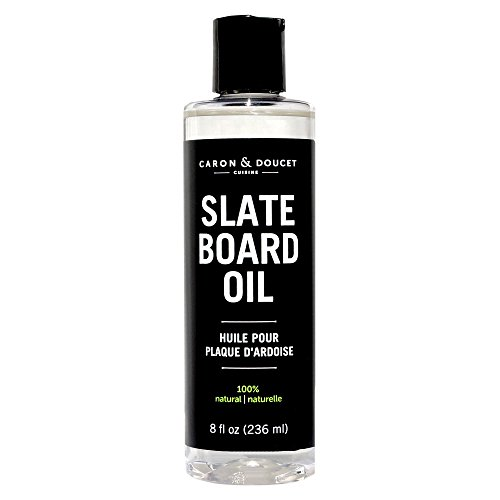 Caron & Doucet - Slate Board Oil - 100% Plant Based Conditioner Oil for Slate Board Cheese Servers. 100% Food Safe & Works to Protect all Slate & Wood servers. (8oz Plastic)