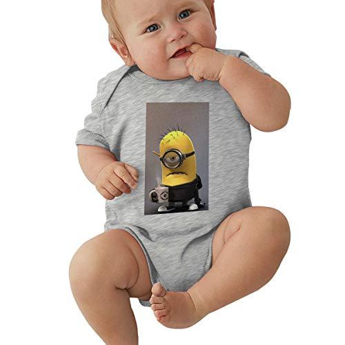 GHYGTY Mini-Ons Baby-Strampler für Neugeborene, superweiche Baumwolle, kurzärmelig, Jersey, Schwarz Gr. 18 Monate, grau