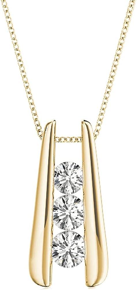 1-3 Carat Bar Set 3 Stone Cheap sale Necklace OFFicial Pendant Diamond Collect Value