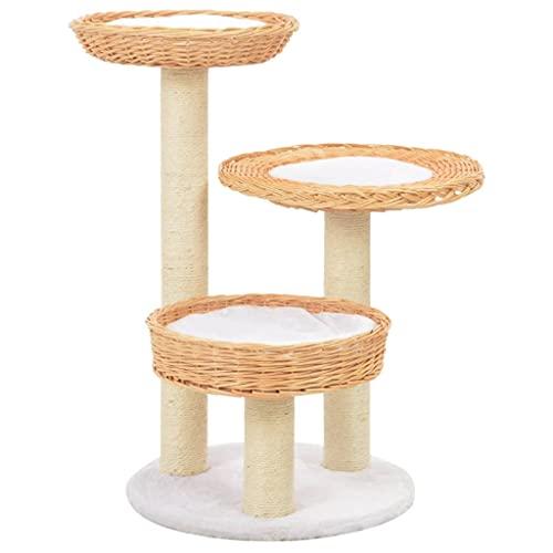 Montloxs Tiragraffi per Gatti Albero rampicante in sisal più Livelli di Piattaforma del Gatto Legno di salice Naturale Dotato di 3 accoglienti cesti di Vimini 68 cm di Altezza