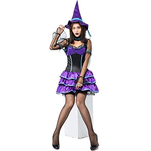 Xgfsd Vestito di Pizzo Fata Halloween Vampire & Costume del Diavolo for Le Donne Morte Lungo Sexy Fantasma Strega Spaventosa Fase Carnevale Cosplay Adulti Forest Elf Principessa Costume