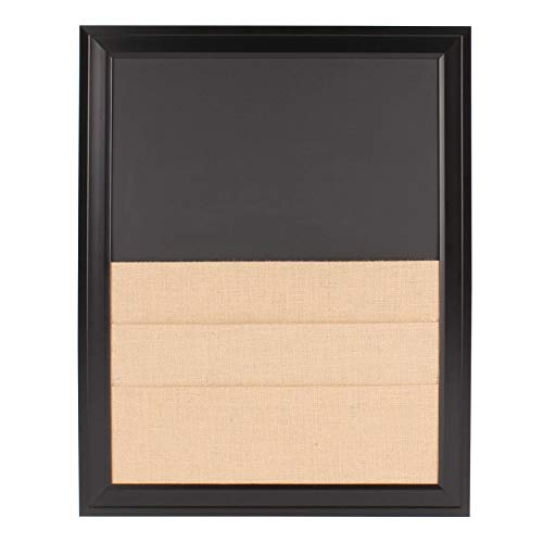 Bosc Wall Mounted Framed Combination Magnetic Chalkboard and Burlap Pockets Wall Organization Board