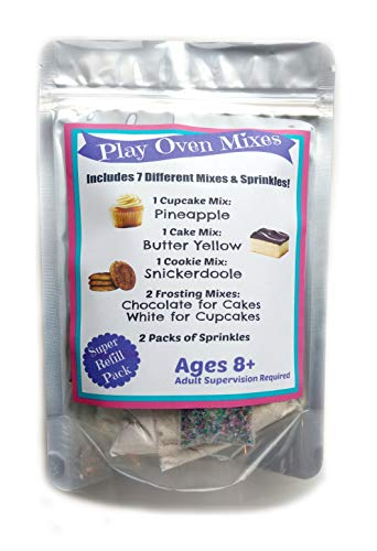 Children's Easy to Bake Oven Mixes Play Toy Oven Real 7 Super Pack Mega Refill Kit Pineapple Cupcake Butter Yellow Cake Cookies Frosting Sprinkles Ultimate Set Cooking Baking Supplies Net Wt 6.2 oz
