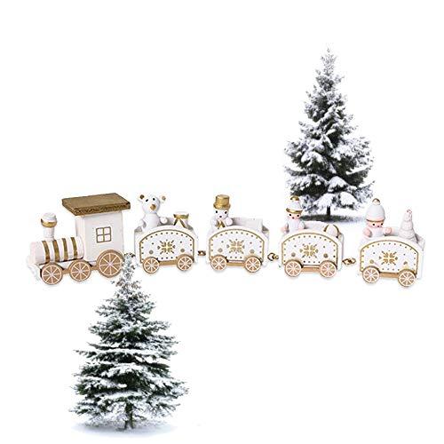 Walenbily, treno di Natale, in legno, 4 carrelli, trenino di Natale, regalo per la decorazione di Natale, giocattolo per bambini