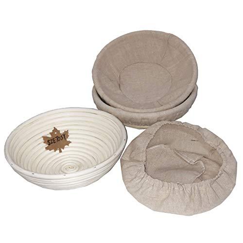 Goodchancecuk - Cestino per la lievitazione del pane, 3 pezzi, in rattan naturale, 25,4 cm, per impasto di pane, pizza e pasticceria