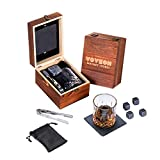 Whiskey Stones and Glass Gift Set for Men – 4 Whisky Scotch Bourbon